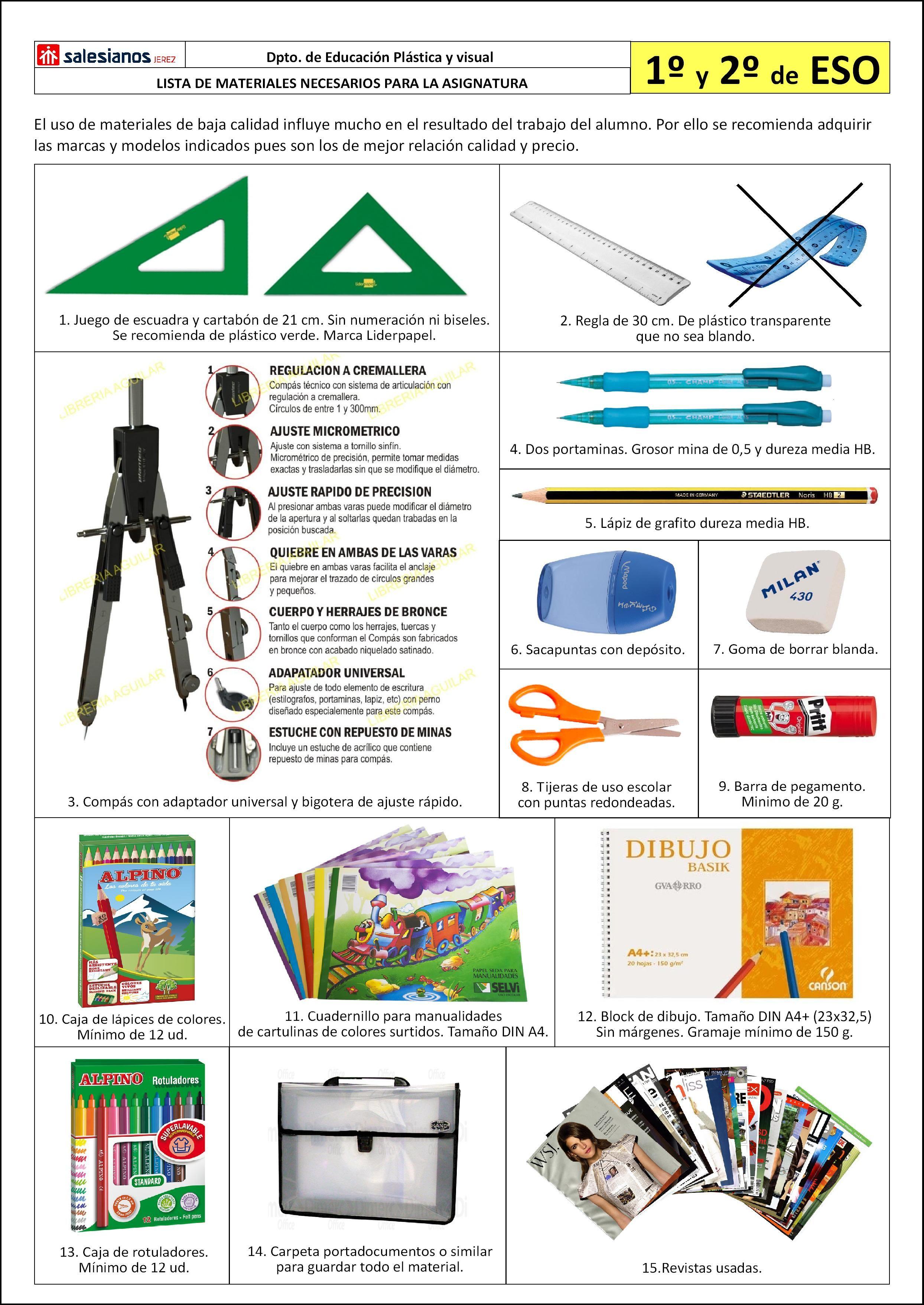 Lista Materiales Necesarios Asignatura Educacion Plastica Y Visual 1º Y 2º Eso Educacion Plastica Y Visual Educacion Plastica Ejercicios De Dibujo