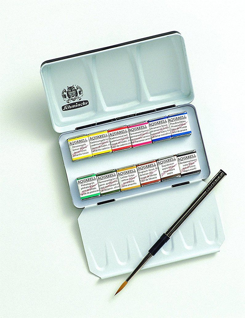 Schmincke Half Pan Watercolor Pocket Set A Compact Metal Travel