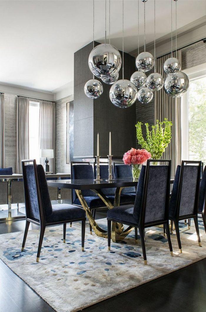 Hochwertig Moderne Stühle Esszimmer Dunkle Farben Goldene Akzente