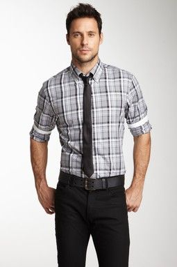 fitted plaid shirt with tie