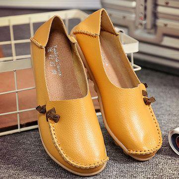 Ante de Puro Color con Puntadas Slip On Planos Blandos Zapatos Para Mujeres  - NewChic Móvil. a1ab7703841