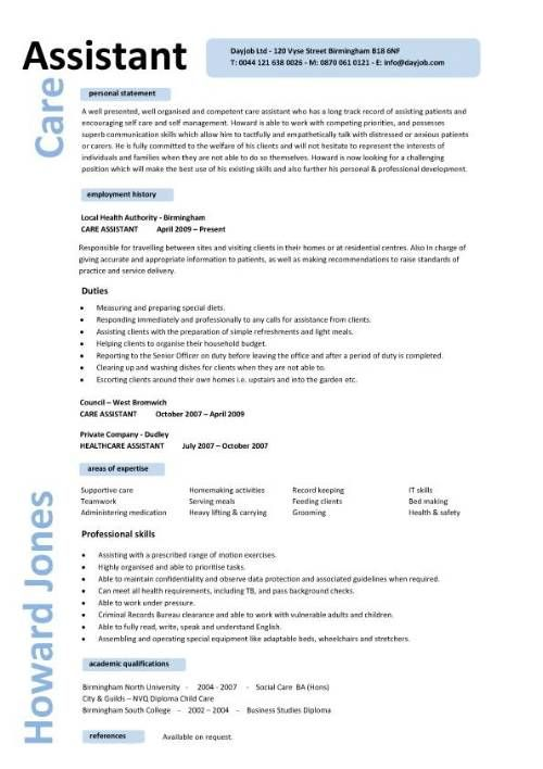 Caregiver Professional Resume Templates | Care assistant CV template ...