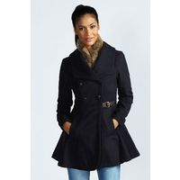 Anya Military Button Buckled Soft Peplum Coat by: boohoo