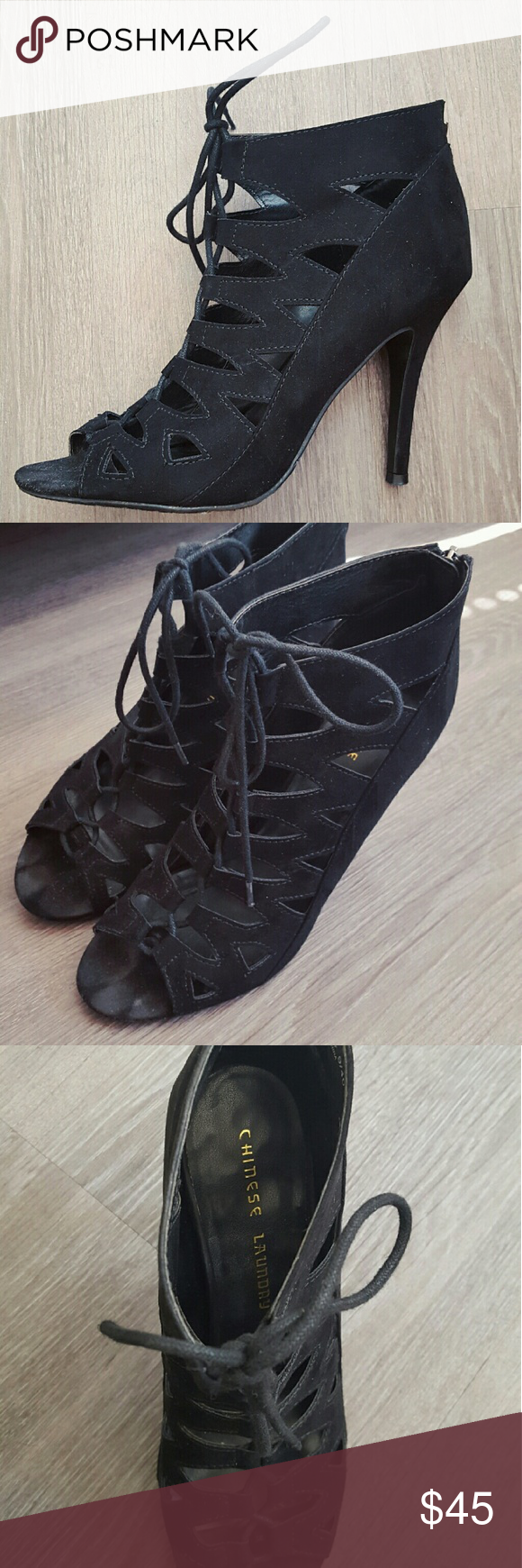 CHINESE LAUNDRY BLACK HEELS Sexy and super comfortable (really) black lace up heels, featuring black suede, peep toe, and back zipper. Good condition all around and fits true to size. Chinese Laundry Shoes Heels