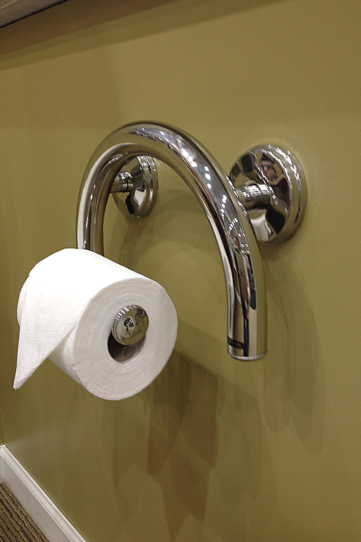 Combination Toilet Paper Holder And Grab Bar For Small Bathroom