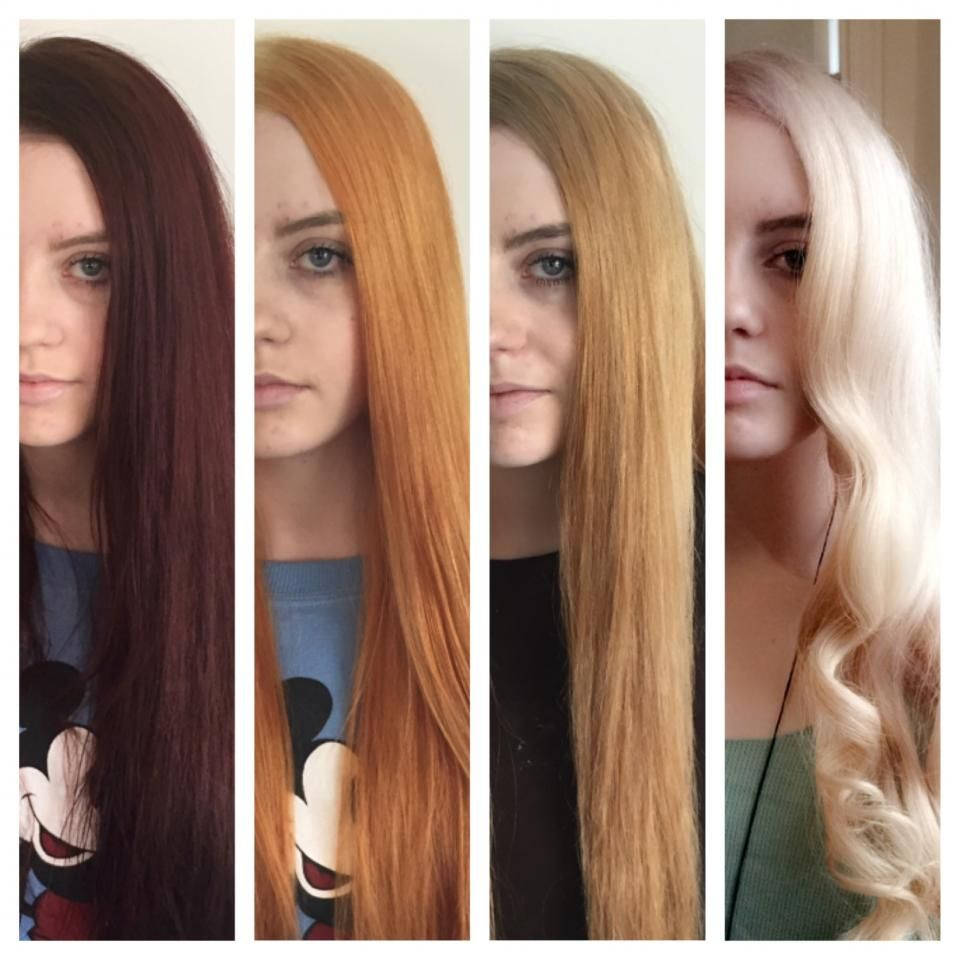 3 Week Journey Dark Red To Platinum Lightening Dark Hair Color