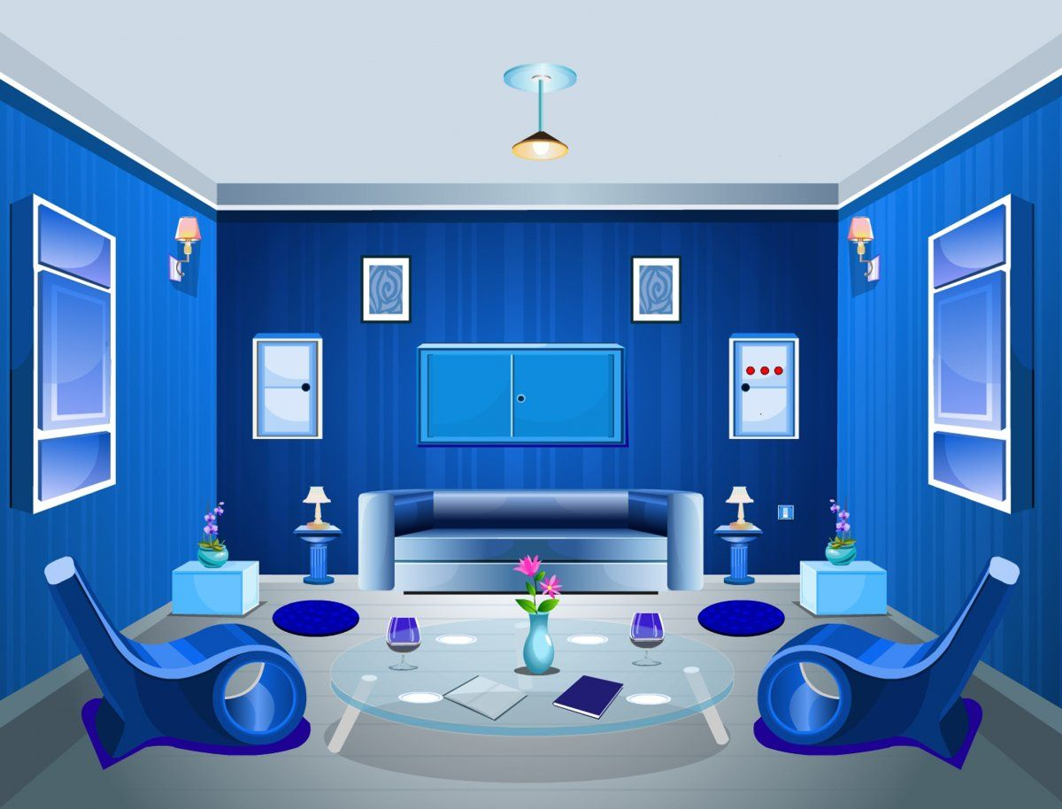 3D Sketch Blue Living Room | Hominic Living Room Inspiration ...