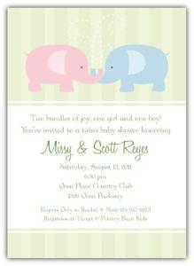 Baby elephants boy girl twins baby shower invitation when there baby elephants boy girl twins baby shower invitation filmwisefo Image collections
