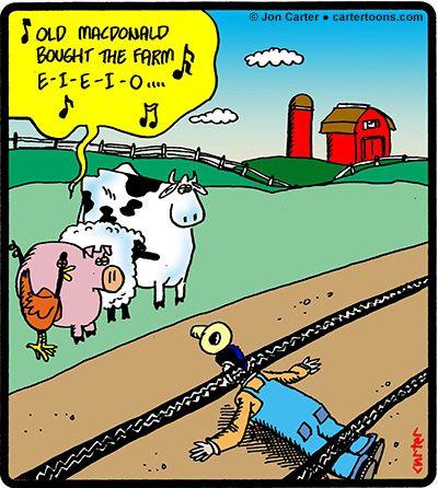 Cartertoons Com Old Macdonald Bought The Farm Cartoon