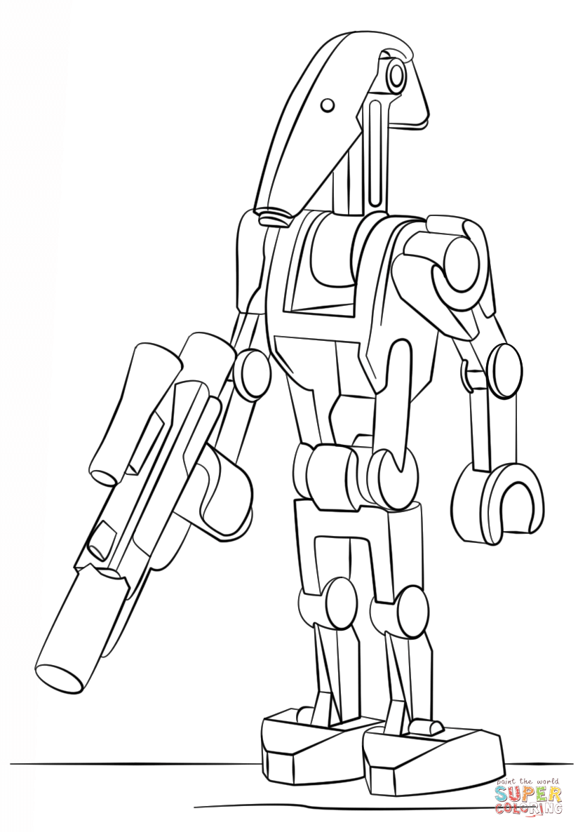Lego Battle Droid coloring page from Lego Star Wars category Select