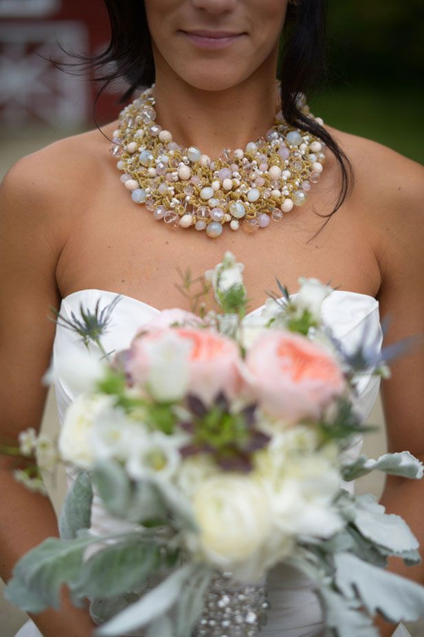 Love this statement necklace! | See more: http://thebridaldetective.com/vintage-barnhouse-wedding-with-lace-details/