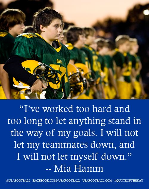 A good mantra for before the game from US soccer's Mia Hamm