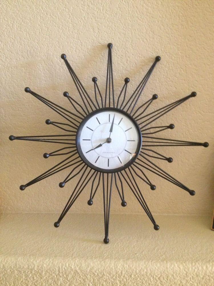 Sterling Noble Black Retro Atomic Starburst Starburst Wall Clock Works Great Wall Clock Clock Atomic Starburst