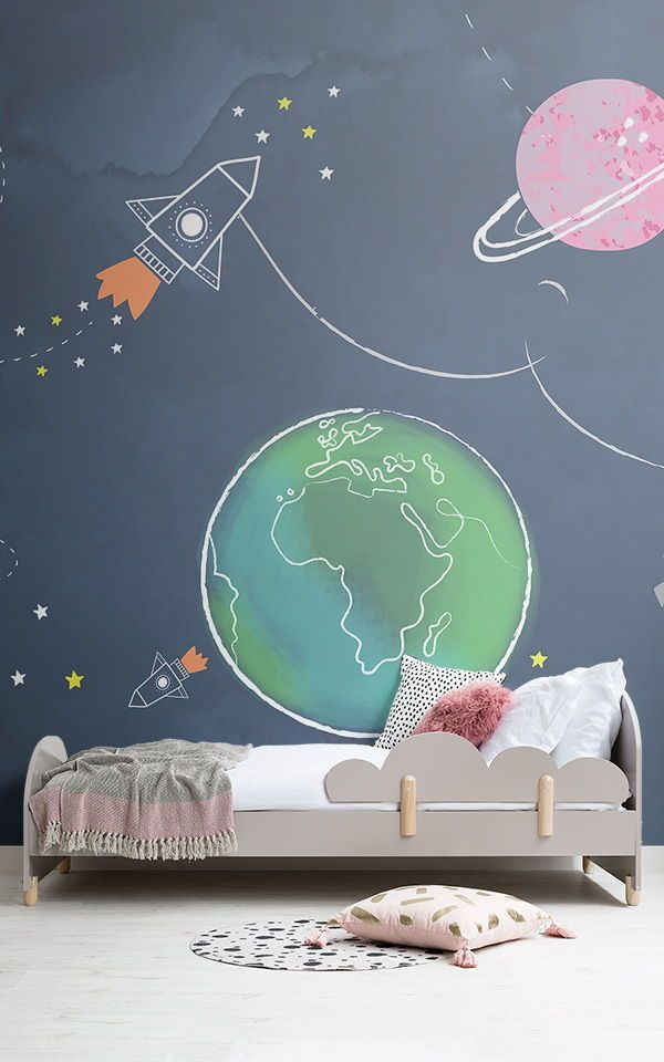 Rocket Wall Mural  Space Wallpaper for Kids  MuralsWallpaperkids