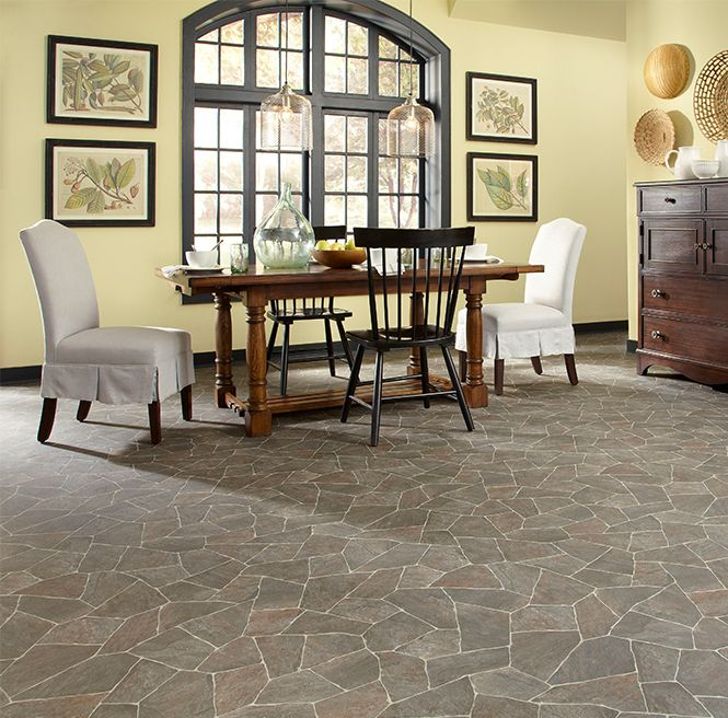 Get A Traditional Look In Your Room With This Beautiful Stone Sheet Vinyl Floor Nero