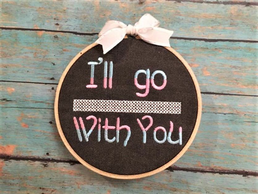 I'll go with you, Trans rights, human rights, needle work, embroidery hoop, protect transgender kids , bathroom law, resist, cross stitch, by SewNerdyGifts on Etsy
