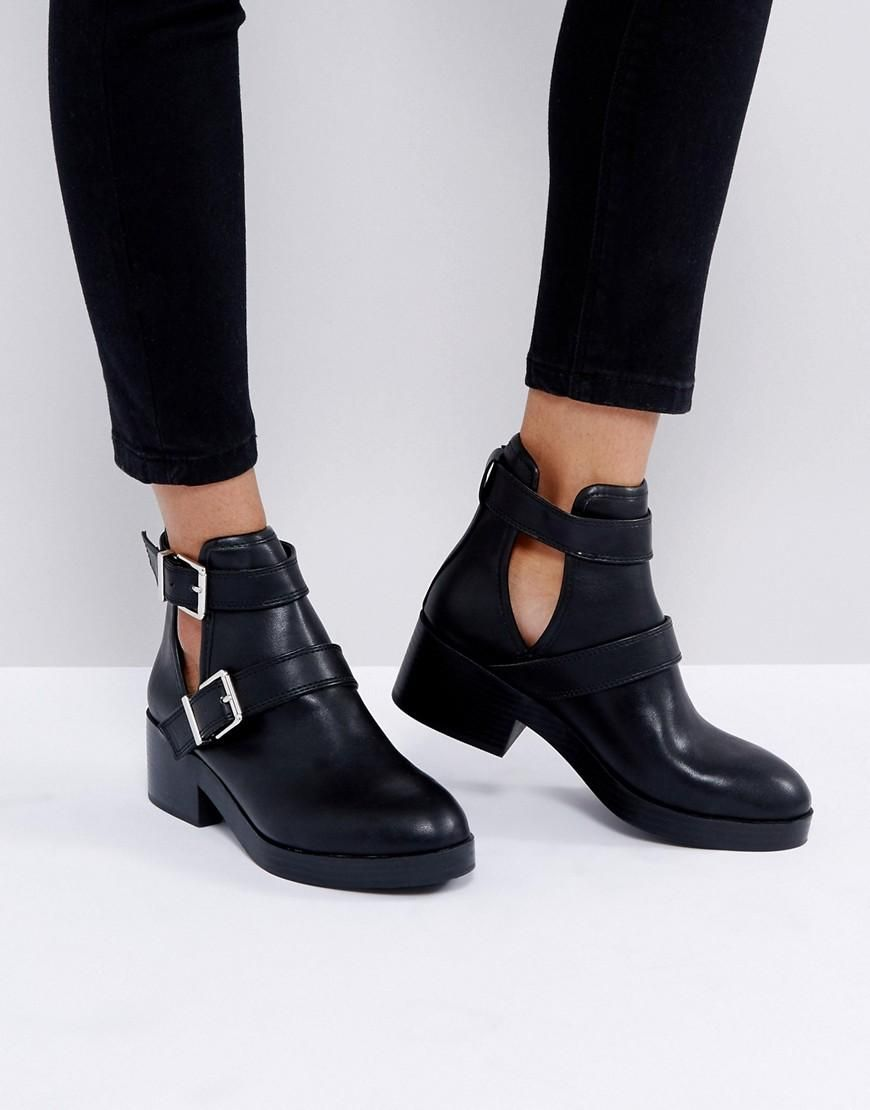 #mothersday #AdoreWe #ASOS Shoes~~Boots~~Snow Boots - Pull & Bear Pull &  Bear Cutout Buckle Boot - Black - AdoreWe.com