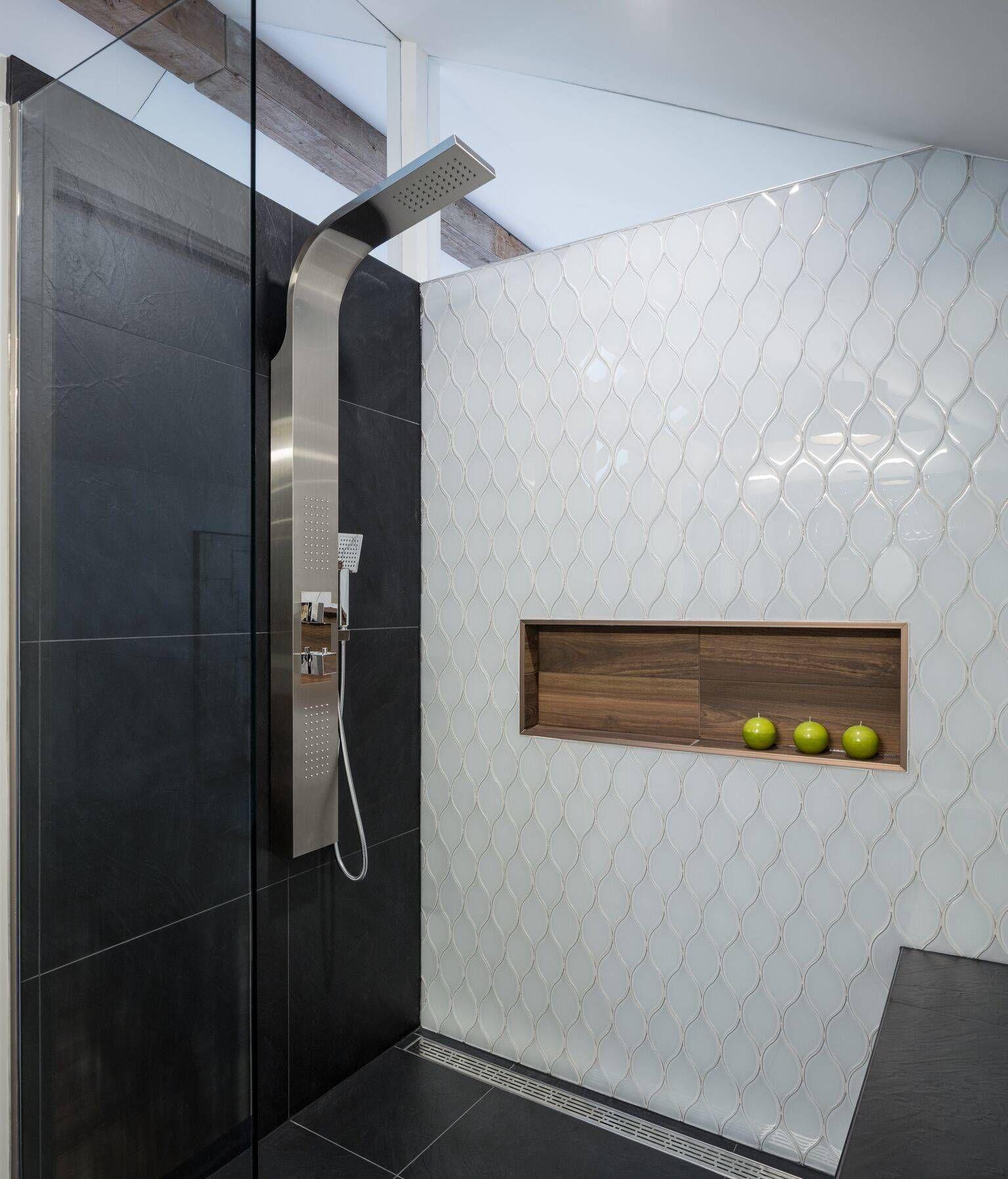 wood tile shower