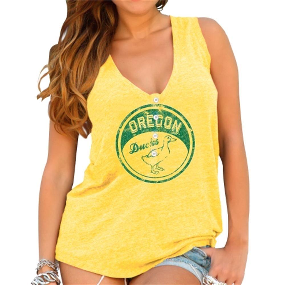 3c2b1dd801775 Original Retro Brand Oregon Ducks Womens Yellow Relaxed Henley Tank ...