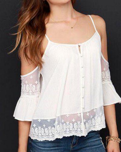 Best Plain White Cold Shoulder Tops Lace Splicing Chiffon 640 x 480