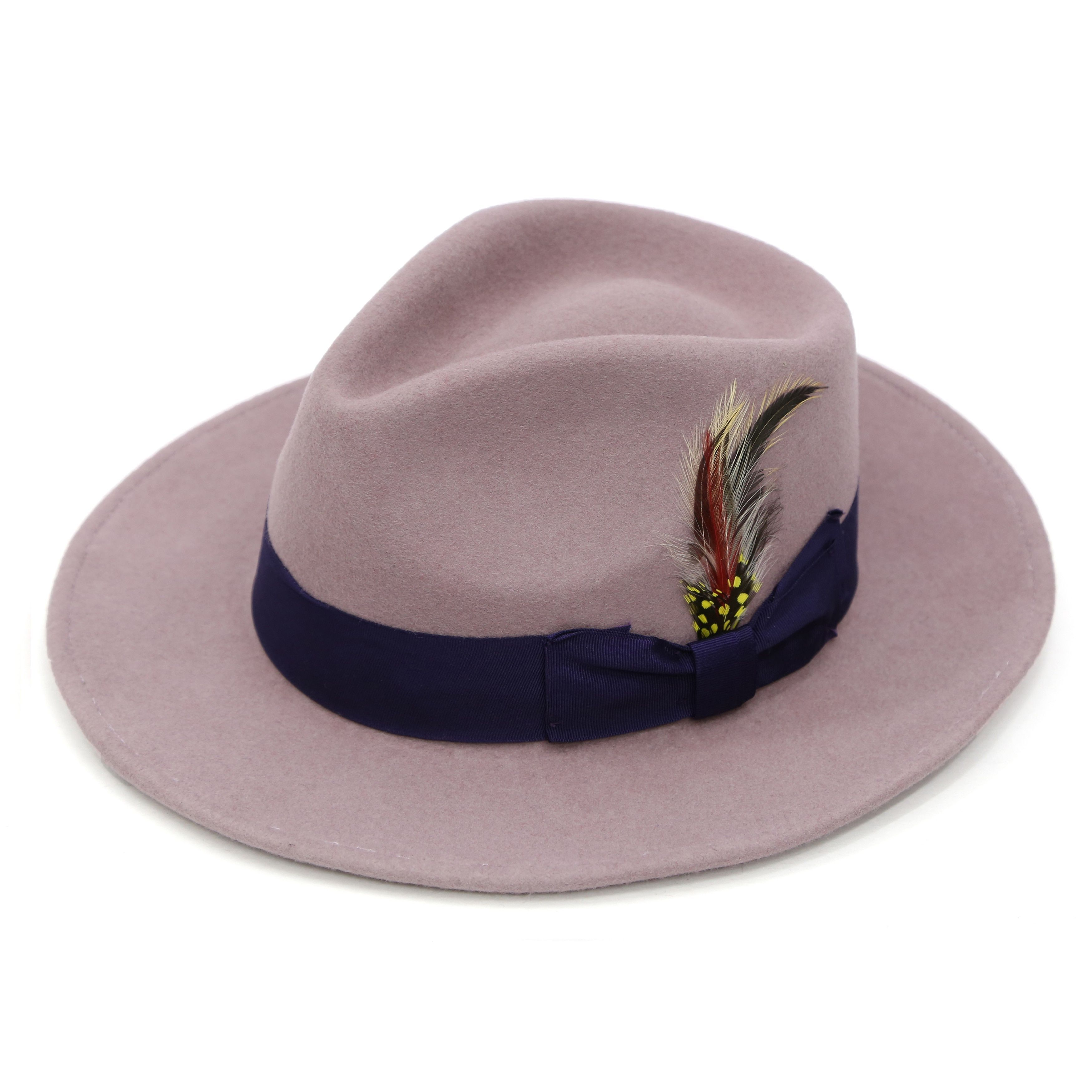 5bb011f12 Ferrecci Lavender with Purple Band Wool Fully Lined Fedora Hat (6 7 ...