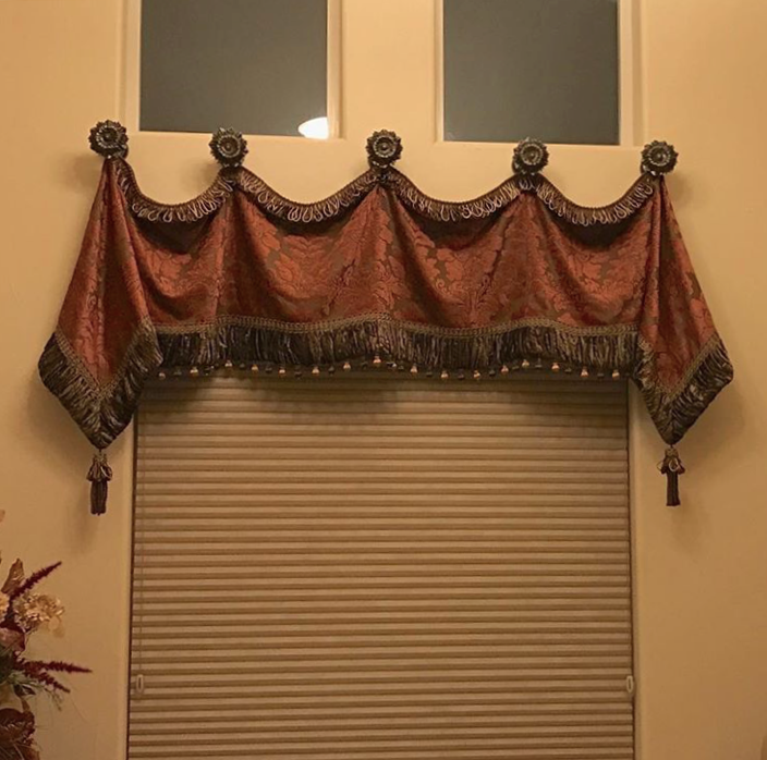 Luxury window treatments valance in terracotta caramel for Old world window treatments