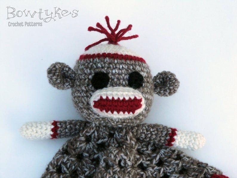 Sock Monkey Lovey - CROCHET PATTERN instant download - blankey, blankie, security blanket