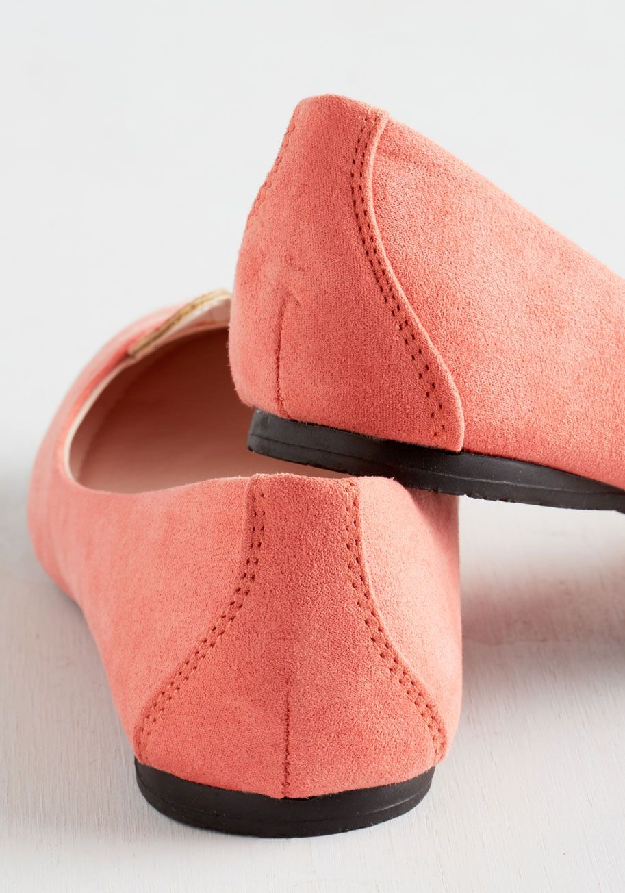 Furry Up, We're Dreaming Flat in Coral. Slip into these bunny flats from T.U.K. #coral #modcloth