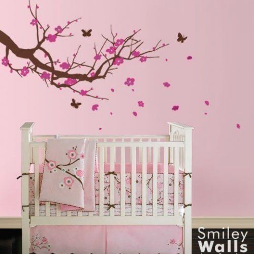 Cherry Blossom Tree With Butterflies Nursery Vinyl Wall Decal - Vinyl wall decals butterflies