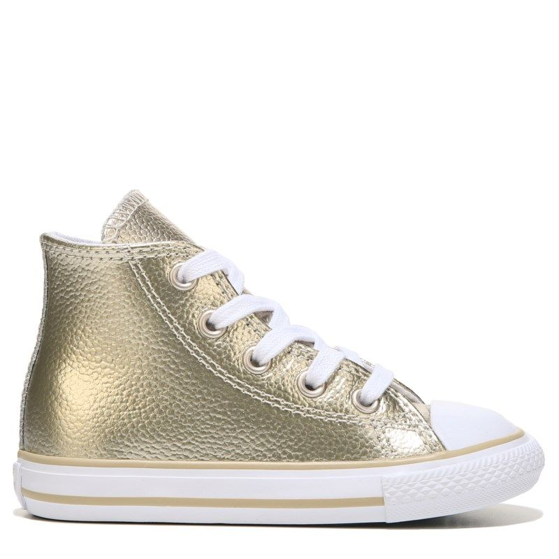 Converse Kids  Chuck Taylor All Star High Top Leather Sneakers (Gold) -  10.0 M 9da42261f