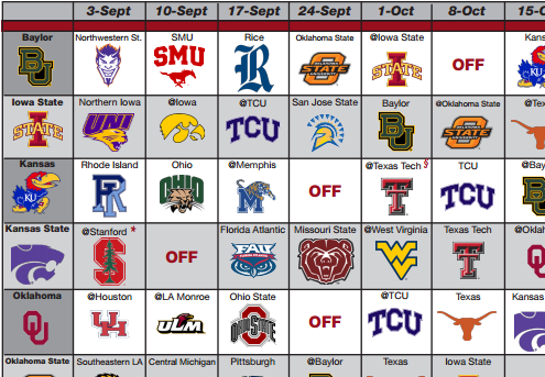 Check out our printable BIG12 Football Schedules and