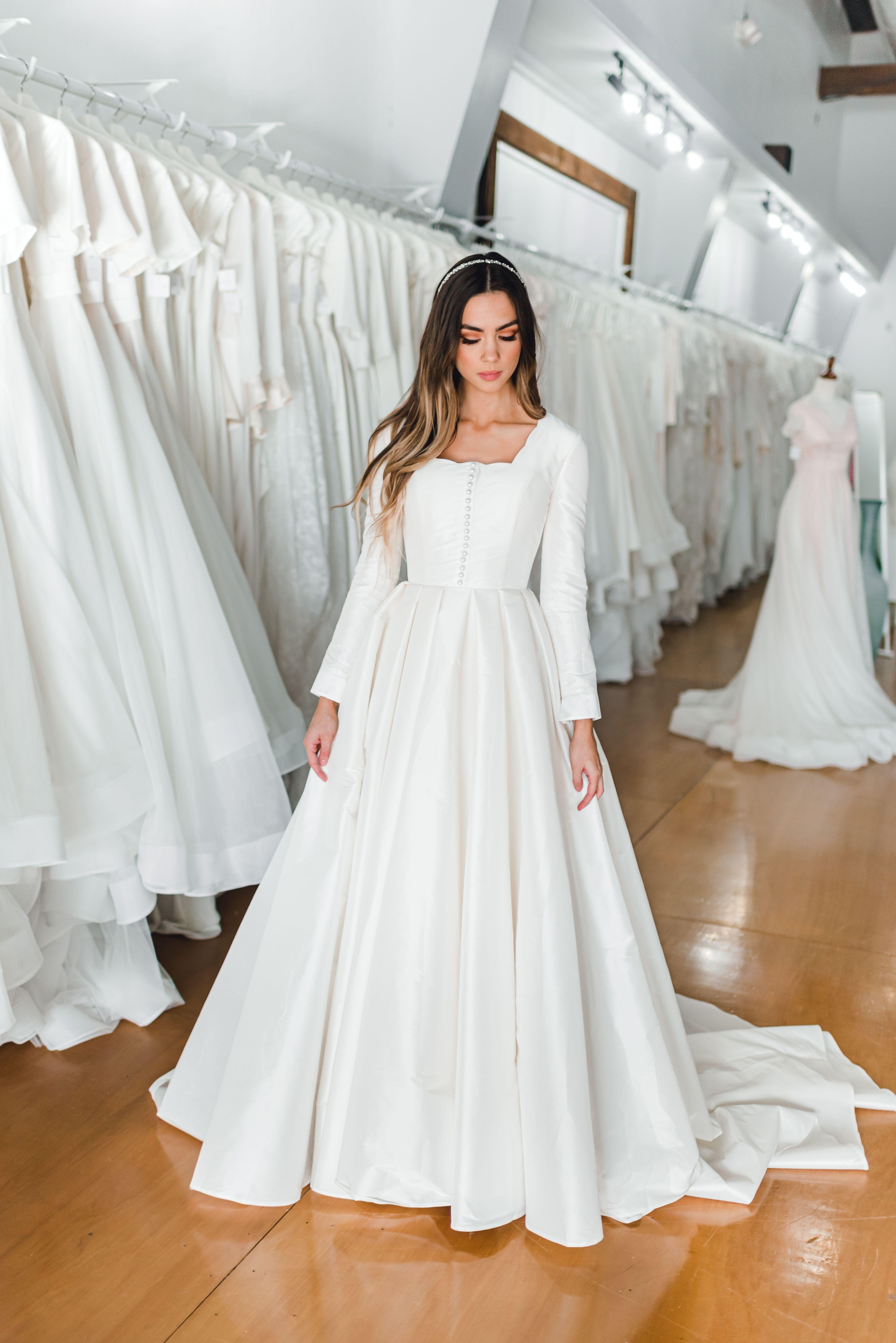 Alana Gown In 2020 Crop Top Wedding Dress Designer Bridesmaid Dresses Modest Long Sleeve Wedding Dresses