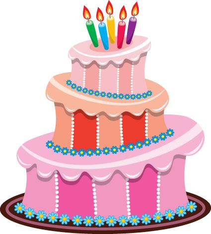Birthday cake vector. Set of material ecole