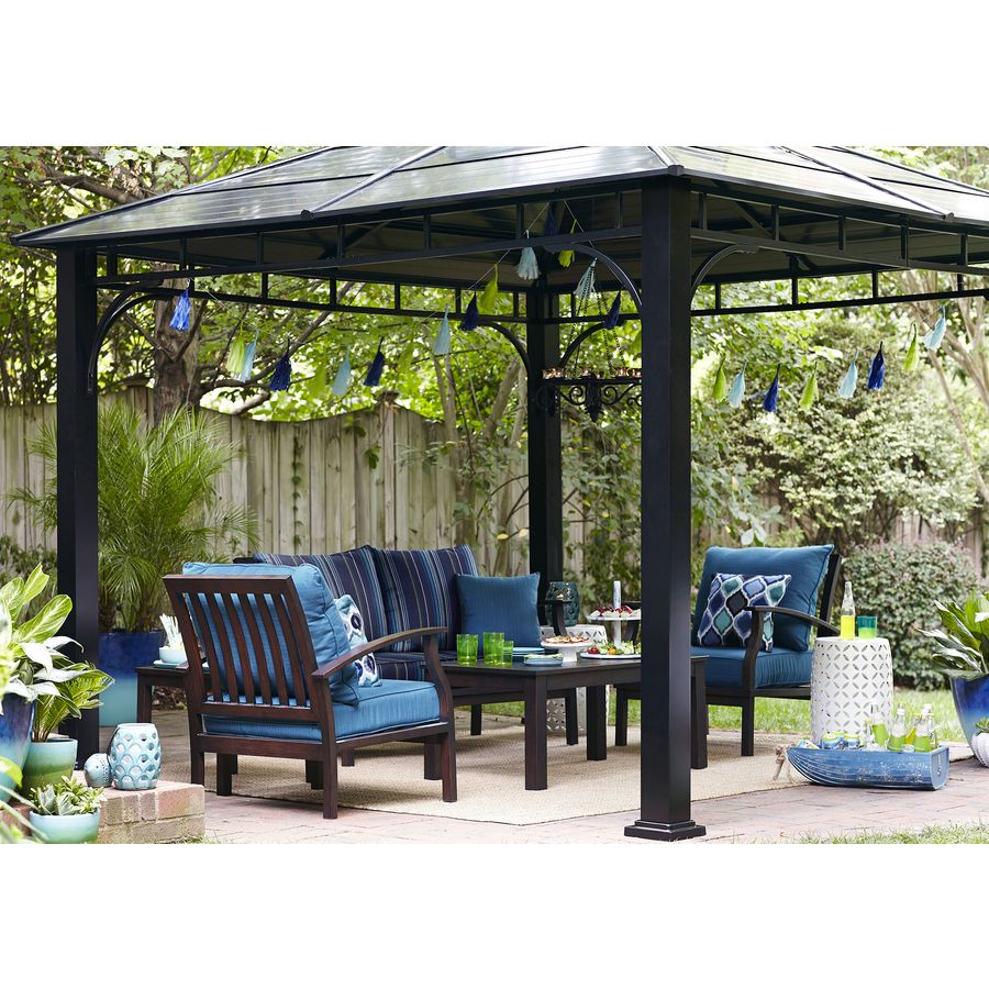 Shop Allen + Roth Black Square Grill Gazebo At Lowes.com