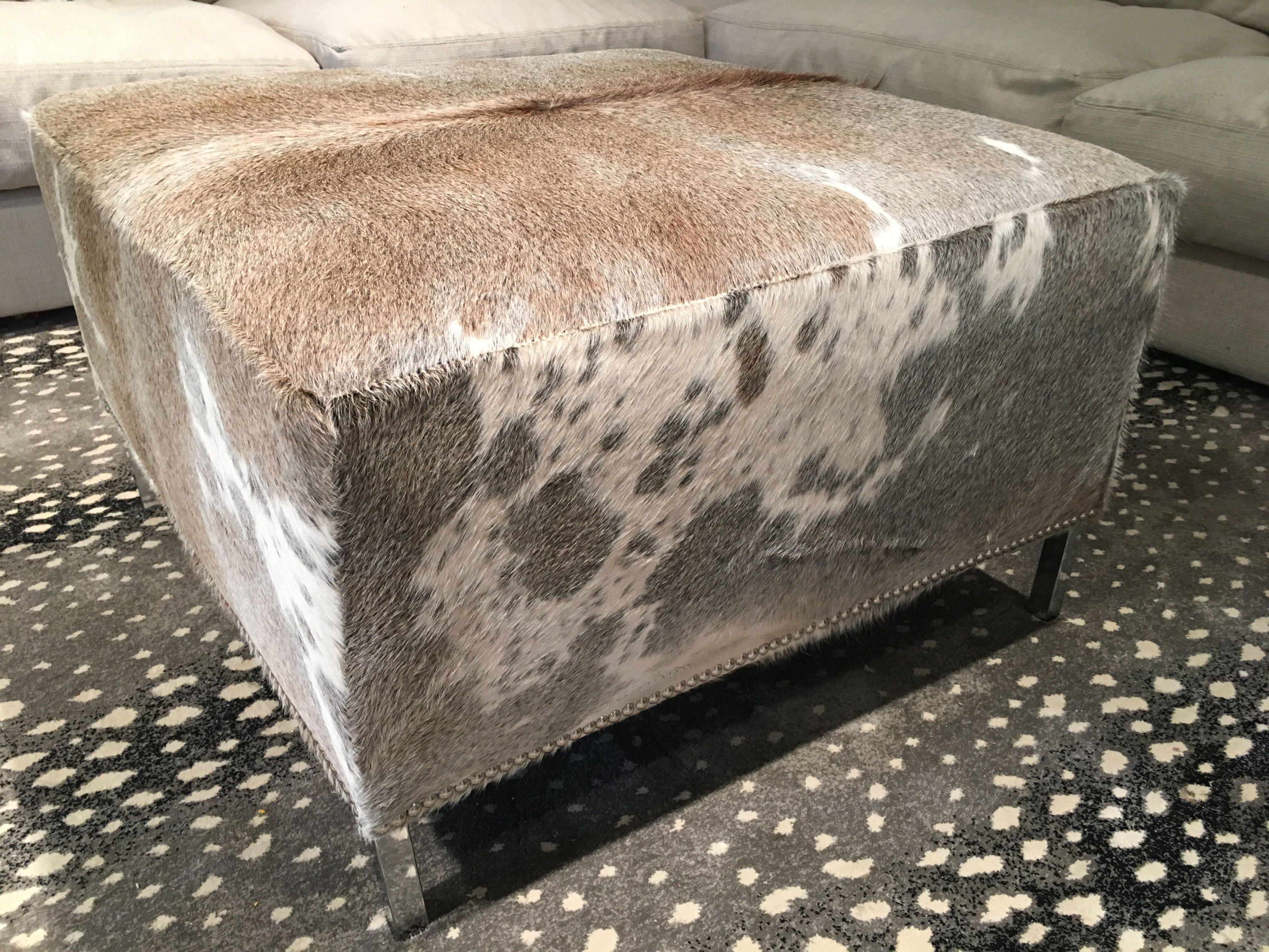 Grey Cowhide Ottoman From Cowhidesusa Com Kids Storage Storage