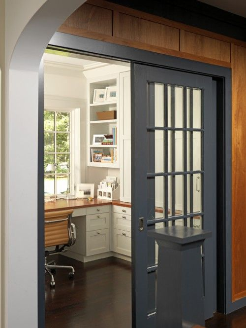 Office Off The Kitchen With A Window This Would Allow You To Multi Task If You Wanted Home Home Office Design French Doors Interior