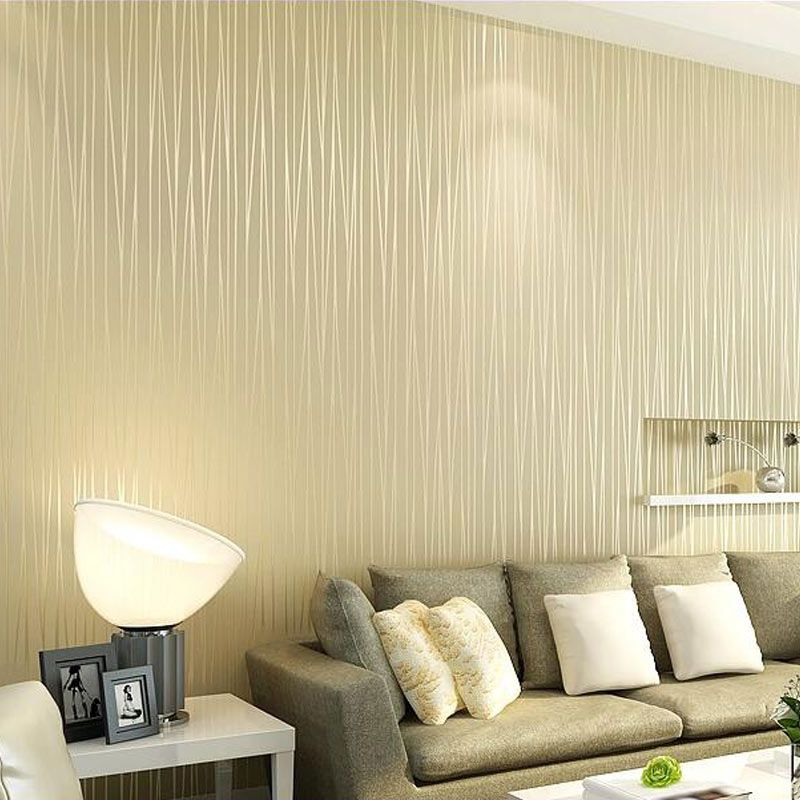 Non-woven Wallpaper Modern Solid Color Vertical Striped Wallpaper ...
