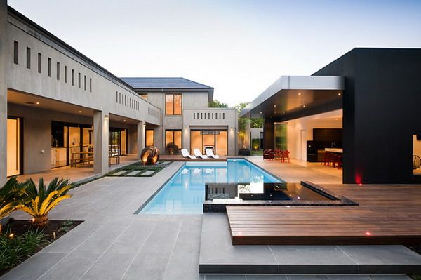 Beautiful contemporary landscape design decor with concrete and wooden deck decoration ideas melbourne swimming pools in