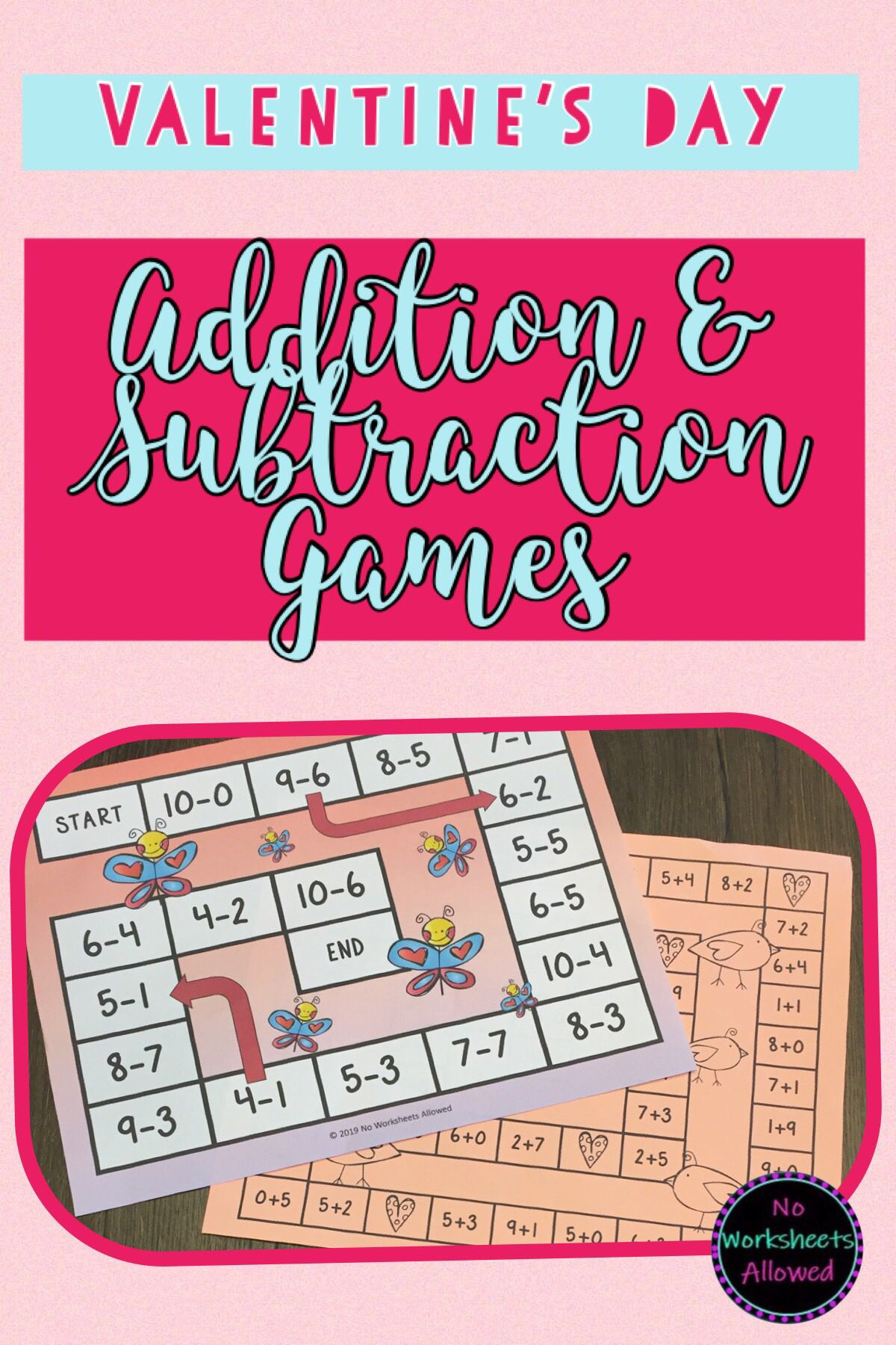 Valentine S Addition And Subtraction Games Within 10