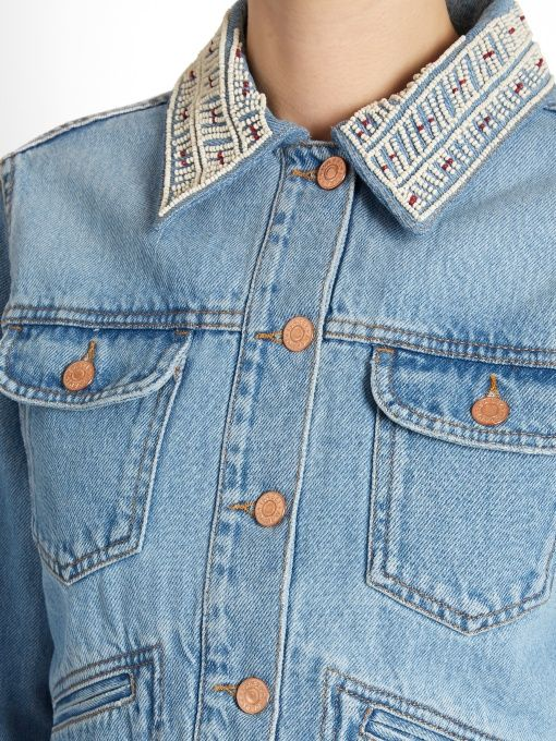 2c0bd9d2d9 Isabel Marant Étoile Christa embellished-collar denim jacket