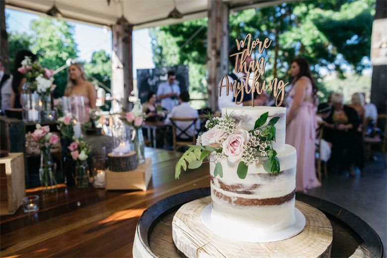 This Relaxed Country Boho Wedding Was Styled By the Bride - Seminaked wedding cake #weddingcake