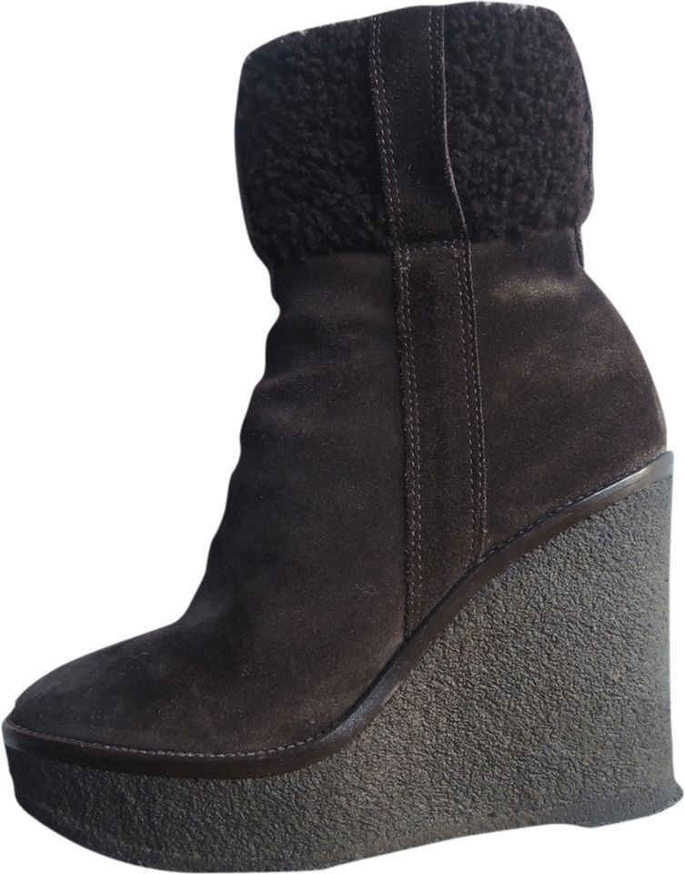 0fbefc3d460 YVES SAINT LAURENT / YSL ASPEN BROWN SUEDE SHEARLING WEDGE ANKLE BOOTS ~  36.5 #YSL #ANKLE