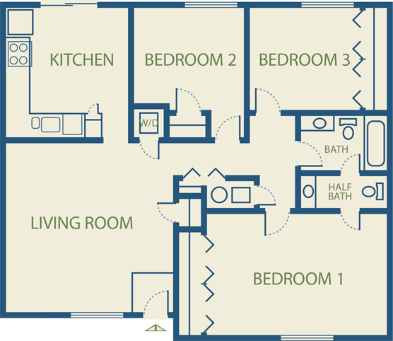 1 2   3 Bedroom Apartment Floor Plans in Colorado Springs  CO. Emejing 3 Bedroom Apartment Floor Plans Photos   Decorating