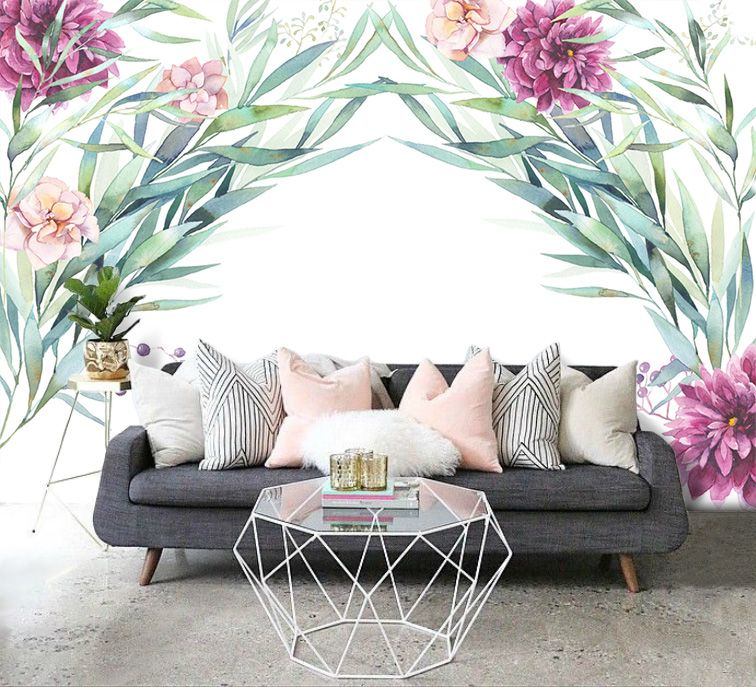 F10201807082 Self Adhesive Wallpaper Watercolor Floral Arch