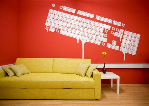 interior design Creative office spaces with red color NATURAL