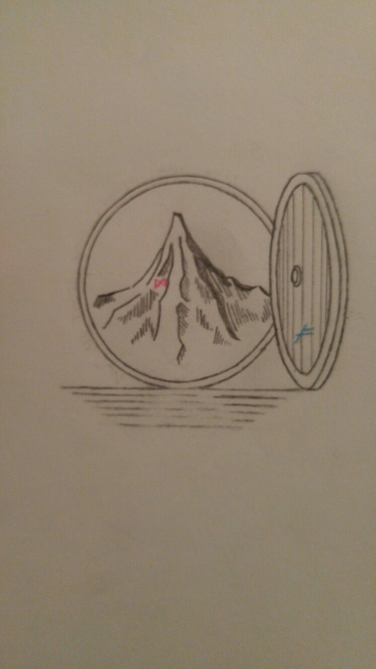 Lonely Mountain Through Bag Ends Door The Hobbit Lotr Lord Of The Rings Tattoo Hobbit Tattoo The Hobbit