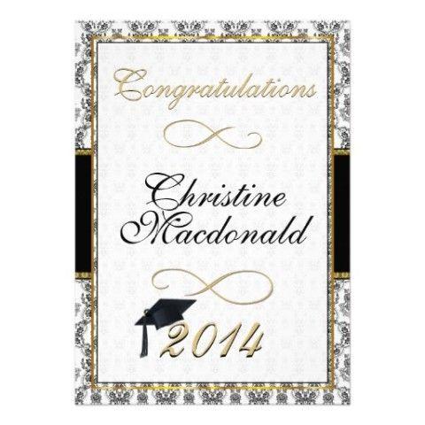 Black And Gold Ornate Damask Graduation Custom Invite