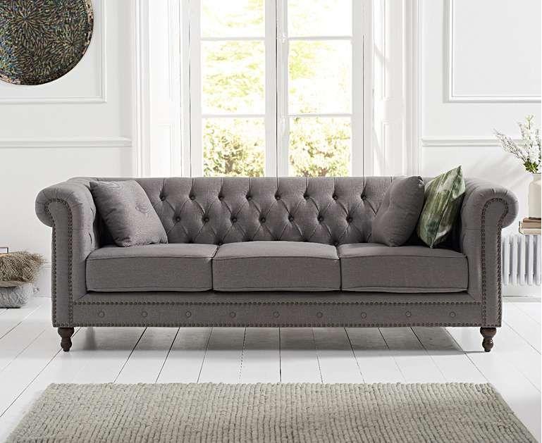 Milano Chesterfield Grey Linen 3 Seater Sofa Casas
