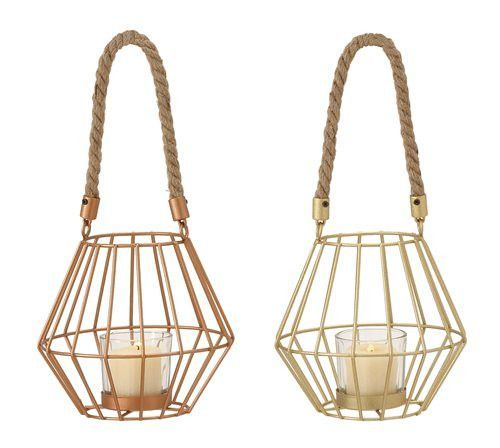 "Trendy Metal Glass Rope Lantern 2 Assorted 6""W 5""H"