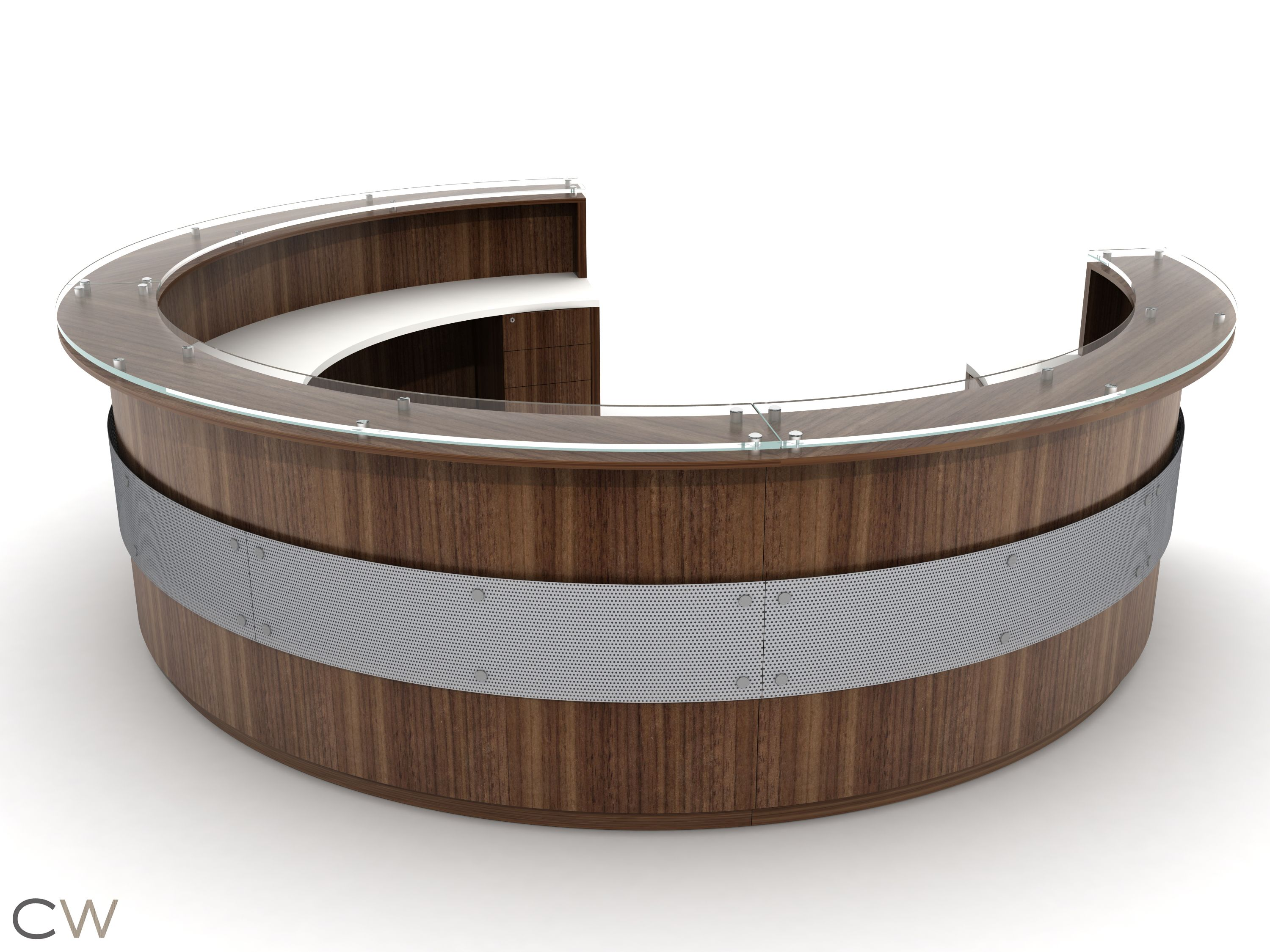 Full Circular Greeting Desk with Floating Circular Accent Screen